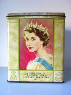 A collectable Vintage metal tin box canister Queen Elizabeth and Prince Philip the Queen's Royal coronation 1953 by on Etsy Metal Box, Metal Tins, Vintage Tins, Vintage Metal, Young Queen Elizabeth, Queen's Coronation, Prince Philip, Tin Boxes, Casket