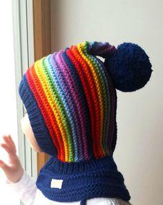 Merino Pixie Balaclava Baby/ Toddler/ Girl hat with Pom Pom, Navy Rainbow Hat & Neckwarmer. Pixie, Elf Hut, Knitted Hats, Crochet Hats, Baby Pullover, Animal Hats, Fancy Hats, Balaclava, Pom Pom Hat
