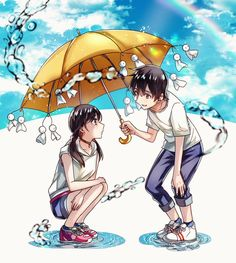 Hina Amano & Hodaka Morishima - Weathering with You (Tenki no Ko) Anime Cupples, Anime Films, Kawaii Anime, Anime Characters, Anime Art, Disney Animation, Animation Film, Makoto Shinkai Movies, Your Name Anime