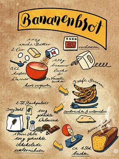 """Sketchnotes by Telse Ahrweiler - Recipe sketch note """"banana bread"""" (digital) - Healthy Eating Tips, Healthy Nutrition, Healthy Baking, Just Add Magic, Baked Oatmeal Recipes, Sketch Notes, Vegetable Drinks, Le Chef, Chalk Art"""