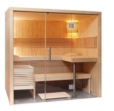 This sauna in modern design is made of Nordic spruce. but also a barrier-free entry into your sauna pleasure. Sauna Room, Stove Guard, Sauna A Vapor, Sauna Design, Small Attics, Wooden Lamp, Wood Interiors, Wooden Flooring, Wood