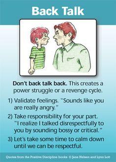 Back Talk #PositiveDiscipline