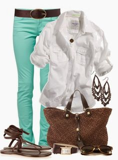 Spring Outfit love these jeans! Mint color!