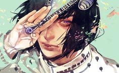 1boy black_hair bob_cut bruno_bucciarati jojo_no_kimyou_na_bouken realistic solo uko_(moi08) zipper