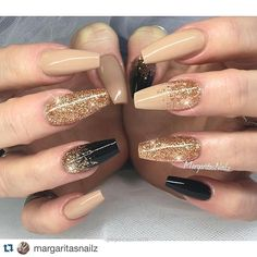 Nude and black and gold nails!!…