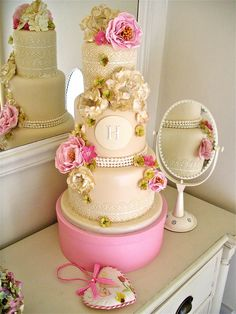Wild sugar roses and lace wedding cake ~ all edible