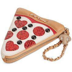 Betsey Johnson Pizza Wristlet found on Polyvore featuring bags, handbags, clutches, wallet, multi, betsey johnson purses, betsey johnson handbags, white wristlet purse, wristlet handbags and white clutches