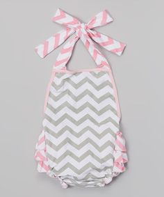 Pink & Gray Zigzag Ruffle Halter Romper - Infant by The Princess Pea #zulily #zulilyfinds