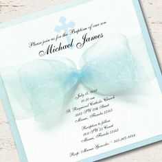 Spanish Boy Baptism Invitation Christening Blue Ribbon Spanish
