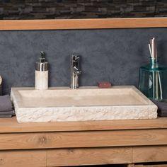 Choisissez un look original et unique pour votre salle de bain avec la vasque à poser en marbre crème Cosy.