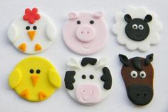 Cupcake Central - Edible Fondant Cupcake Toppers 12 Farm Animal Cupcake Toppers $18 plus shipping.