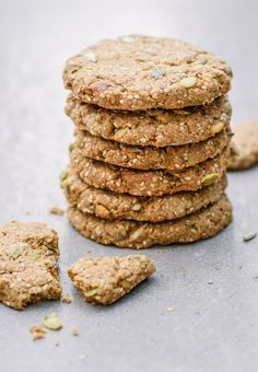 Seed Cookies - The Little Green Spoon. Gorgeous, crisp and chewy vegan seed cookies. So easy to make and the perfect sweet treat.