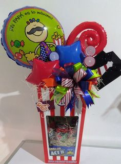 Homeade Gifts, Homemade, Balloon Box, Fathers Day Crafts, Birthday Balloons, Party Gifts, Gift Baskets, Gift Wrapping, Valentines Day