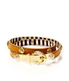 This bracelet is nice. Too bad you wont see the stripes while you're wearing it. (Buckle up double rivet wrap bracelet by Henri Bendel) BRACELET