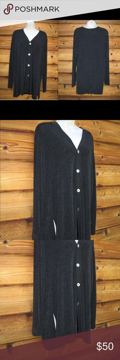 """Vintage Chico's Travelers Slinky Knit  Jacket Vintage Chico's Travelers Slinky Knit Textured Private Edition Jacket, Size 1 M  *Like-new  Details: Chico's  Size: 1 M Color: Black Check 86%Acetate/8% Polyester/5% Spandex Machine Wash Made in the USA  Measurements: Length: 30"""" Bust: 46"""" Waist: 44"""" Chico's Jackets & Coats"""