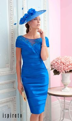 5a09730836cded Ispirato ISC831 Indigo Special Occasion Dress In a fresh indigo blue  palette, this striking statement
