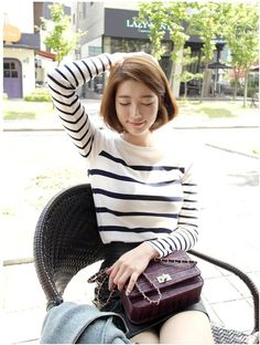 Korean Style | Stripes and Short Hair                                                                                                                                                     More