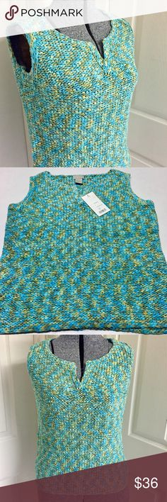 """🆕 SIGRID OLSEN sweater NEW with tag, never worn! Beautiful Sigrid Olsen Sport knit sleeveless sweater in """"Seaside Palms"""". Multicolor knit of blues, green and tan hues. ADORABLE sweater perfect for everyday wear! Sigrid Olsen Sweaters"""