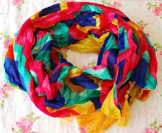 SALE  Colorful Scarf Oriental Style Scarf Summer by PinkkisShop