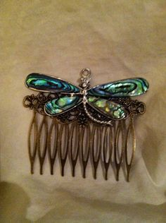 Steampunk dragonfly comb by ambethjewelry on Etsy, $15.00