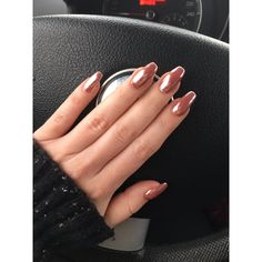 chrome rose gold nails coffin nails winter 2016 pink shine