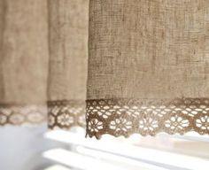 Naturales algodón lino mezcla Cafe cortina cenefa por HereIsTheShop