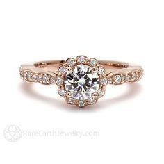 14K Rose Gold Moissanite Engagement Ring Diamond Halo by RareEarth
