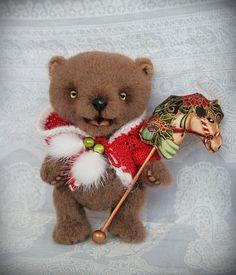 Artist Teddy Bear Christmas Spirit  5.3 inches 135 by NataLitun, $200.00