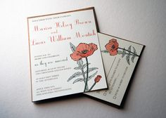 The Daphne Collection - Vintage Inspired Poppy Wedding Invitation Set in Green, Orange, and Cream with Kraft or Cream Envelopes - SAMPLE. $3.50, via Etsy.