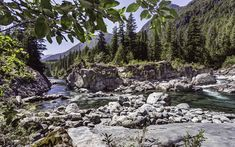 Download wallpapers mountain river, spring, sunny day, forest, mountains