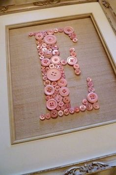 Personalized Baby Girl Nursery Button Art, Kid Wall Art, Pink Button Letter on Antique White Silk, Unique Baby Gift, Girl Nursery Decor - Crafts Cute Crafts, Crafts To Do, Crafts For Kids, Arts And Crafts, Creative Crafts, Craft Ideas For The Home, Kids Diy, Decor Crafts, 3 Kids