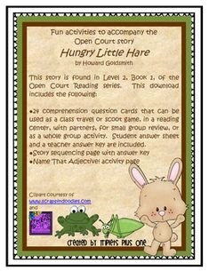 Fun Activities to accompany the Open Court story Hungry Little Hare $
