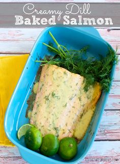 This Creamy Dill Baked Salmon Recipe is so delicious and tangy. Perfect for a quick weeknight meal and elegant enough for entertaining. 20 minutes or less!