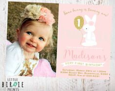 1st Birthday Invitations Some Bunny is turning one by cardmint