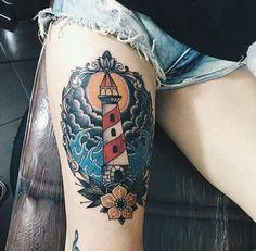 a664bc83d Navy Tattoos, Old Tattoos, Life Tattoos, Sleeve Tattoos, Traditional  Lighthouse Tattoo, Neo Traditional Tattoo, Bioshock Tattoo, Watch Tattoos,  Big Tattoo