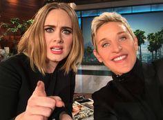 """Adele and Ellen Degeneres """"Hello. It's us. #Adellen #Tomorrow"""" (02/17/2016)"""