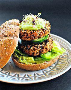 """Kimchi Quinoa Burgers with Jalapeno-Avocado """"Mayo"""" ~ Vegan and gluten-free via @foodtoglow"""