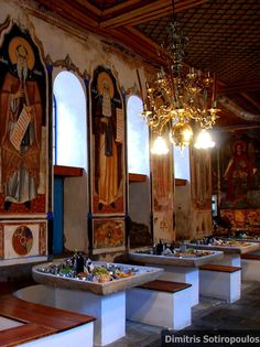 Vatopedi Monastery _ The dining hall, Mount Athos, Greece The Holy Mountain, Orthodox Icons, Byzantine, Fresco, Christianity, Cathedral, Prayer, Tourism, Dining Room