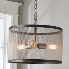 From top to bottom, our Industrial Mesh Drum Chandelier exemplifies the craftsmanship of our in-house artisans. From its hand formed copper frame with a hand-applied darkened copper finish to its… Dining Room Light Fixtures, Dining Room Lighting, Home Lighting, Lighting Ideas, Bathroom Lighting, Drum Shade Chandelier, Black Chandelier, Industrial Chandelier, Industrial Lighting
