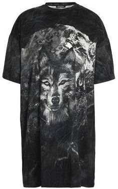 6bdce802 Balmain Distressed Printed Cotton-Jersey T-Shirt Wolf T Shirt, Printed  Shirts,