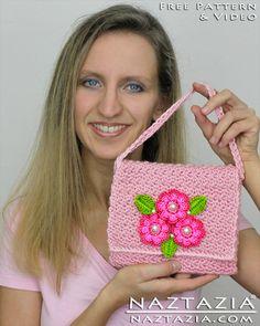 DIY Learn How To Crochet Flower Purse Clutch Hand Bag Handbag Wallet - Free Pattern with YouTube Help Video Tutorial by Naztazia