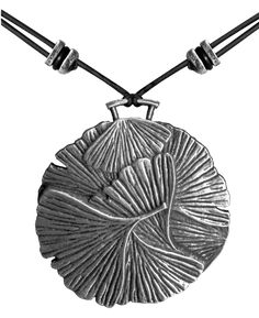 Britannia metal necklace jewelry, hung on adjustable length, quality leather cord. Hand cast in the U.S.A. by Oberon Design. - DETAILS - SIZING CLUE Weight: 12 grams Dimensions: 1 1/4 inch Diameter Pr