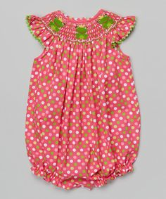 This Pink Polka Dot Frog Smocked Bubble Bodysuit - Infant & Toddler by BeMine is perfect! #zulilyfinds