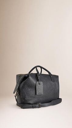 Dark pewter blue Ostrich Leather Holdall - Burberry