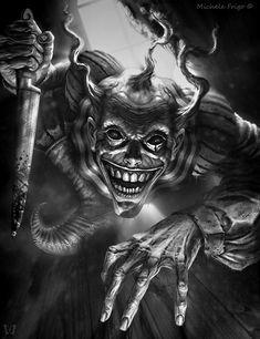 Fumbling Towards Ecstasy — Pulcunella by Michele Frigo © deviantART /. Jester Tattoo, Clown Tattoo, Demon Tattoo, Evil Tattoos, Scary Tattoos, Demon Drawings, Dark Art Drawings, Horror Drawing, Horror Art