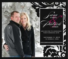 Damask Save the Date Magnet