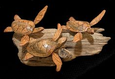 Hand carved wood baby sea turtles on by Trees2TreasuresCA on Etsy