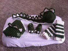 Crocheted Dinosaur Hat Diaper Cover Shoe Legwarmers Photo Prop on Etsy, $40.00