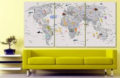 Animal world map canvas Kids world map decor Large world map Nursery art Animal map canvas Extra large wall art Travel poster Push pin - Animal world map canvas Kids world map decor - Map Nursery, Travel Wall Decor, Kids World Map, Gaming Wall Art, World Map Decor, Cafe Art, Kids Canvas, World Map Canvas, Thing 1