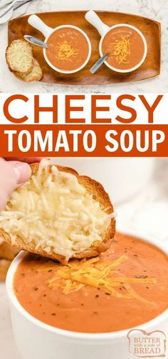 Cheesy Tomato Soup is smooth, creamy and so easy to make! Tomatoes, melted cheddar and sauteed veggies give this easy tomato soup recipe tons of flavor. Easy Tomato Soup Recipe, Easy Soup Recipes, Beef Recipes, Dinner Recipes, Veal Stew, French Soup, Indian Soup, Types Of Sandwiches, Pork Soup